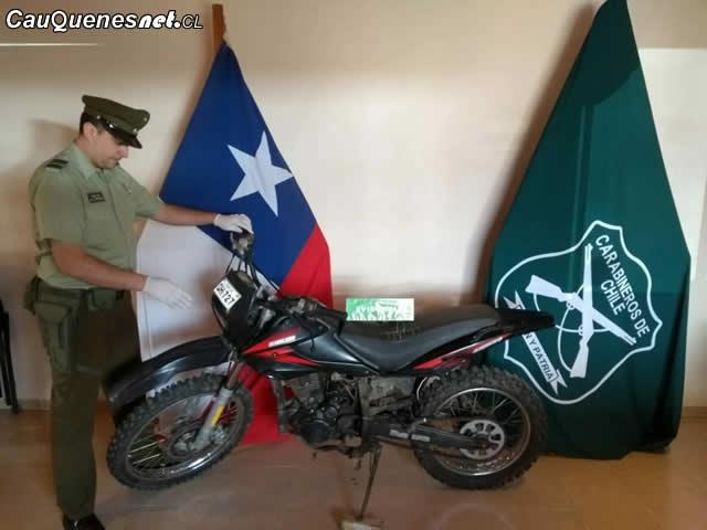 Carabineros recuperó motocicleta en Chanco