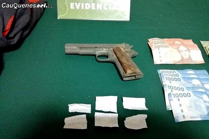 Carabineros detuvo a delincuente que robó farmacia con arma de fogueo en Cauquenes