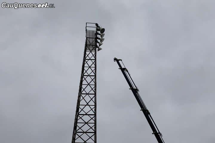 Comenzó el recambio de luminaria en Estadio Municipal de Chanco