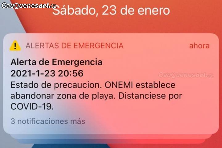 En #Pelluhue también hubo pánico a causa del mensaje para evacuar el borde costero
