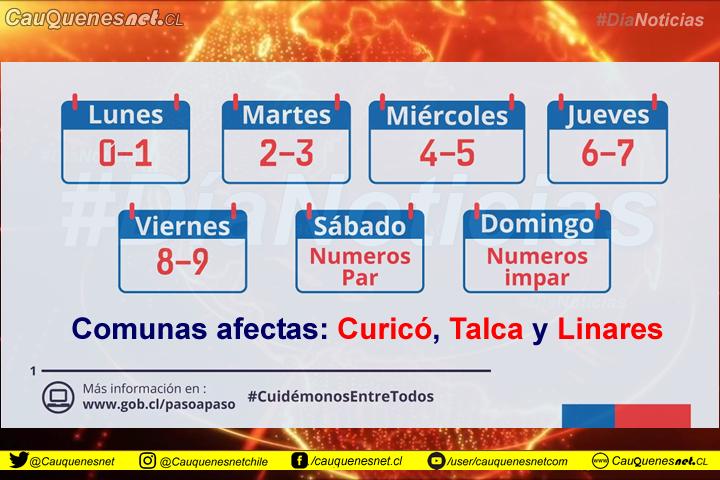 Hoy parte la restricción vehicular por Covid en #Curicó, #Talca y #Linares